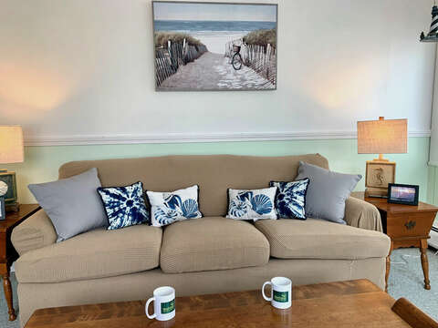 Comfy couch on the porch at-25 Zylpha Rd Harwich Port- Cape Cod- New England Vacation Rentals