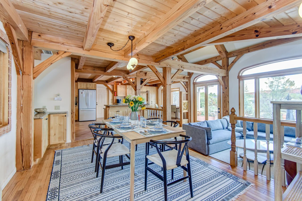 Dining Area with Hardwood Floors and Ceiling