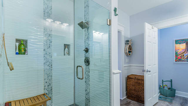 Custom Walk-in Shower in the Master Bath with Two Shower Heads