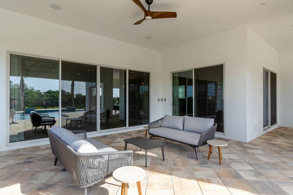 Plenty of space to relax on the covered patio