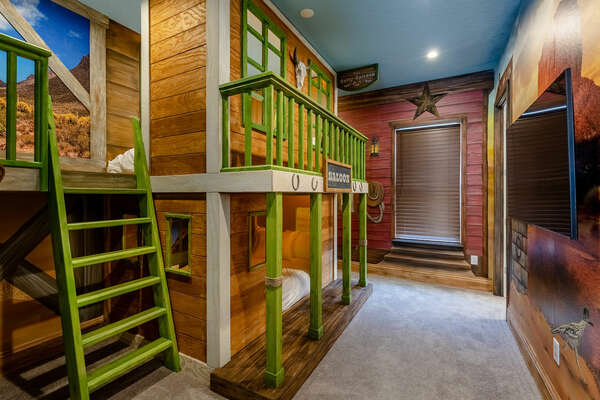 The kids will have a WILD time in this custom-built bedroom