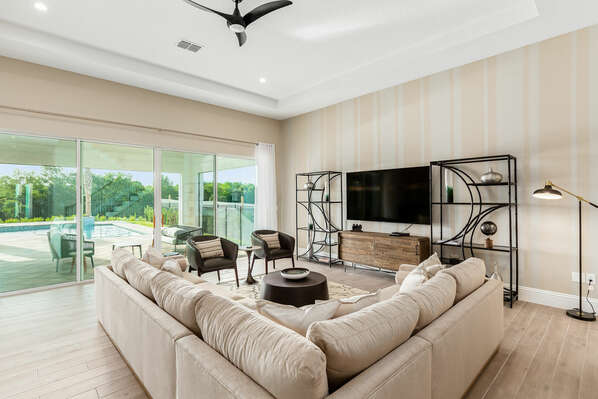 Large living room for gathering with loved ones