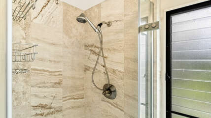 Bathroom shower with tiled walls