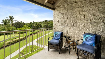 Two outdoor chairs on lanai