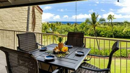 Outdoor seating and dining table on lanai