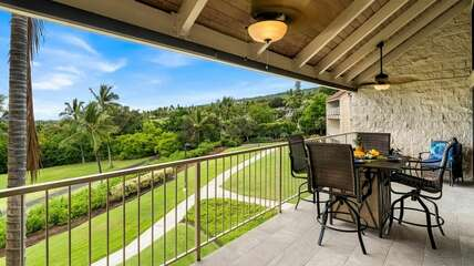 Private lanai with seating for four