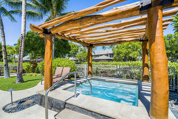 Hot Tub with Hand Rail and Wooden Gazebo