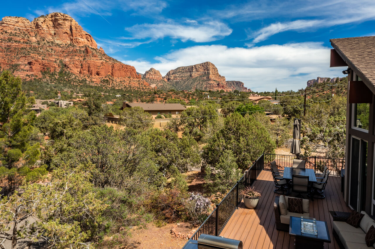 Natural Landscaping and Red Rock Backdrop