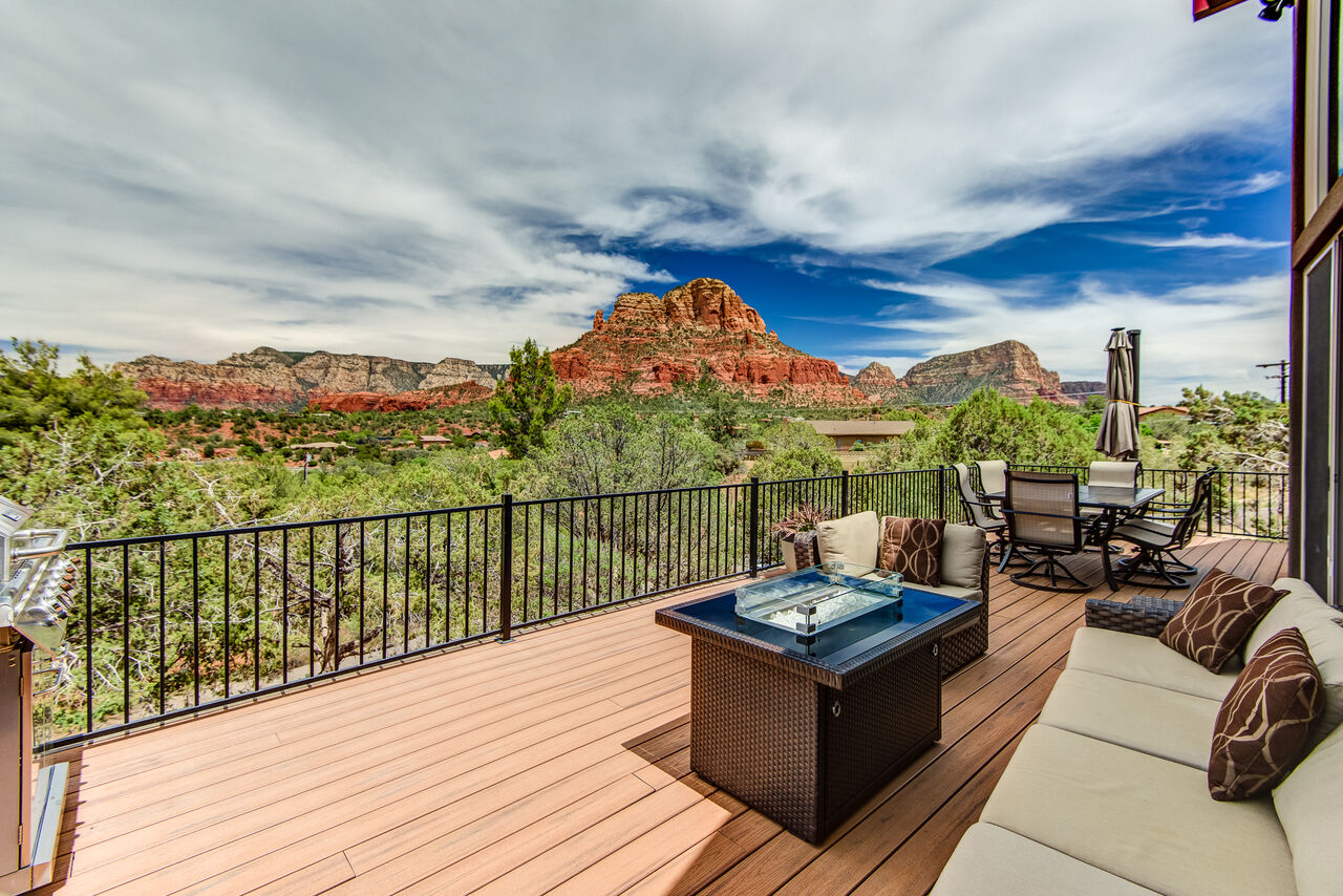 New Trex Deck with Outdoor Seating and Dining and Expansive Views