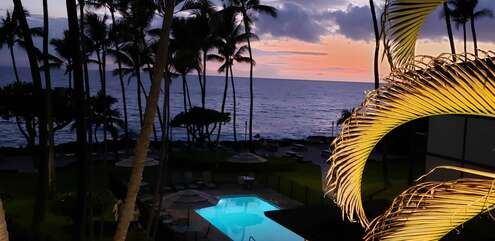 Sunset view from this Kona Hawaii vacation rental