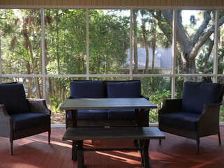 Outdoor living on the screened porch