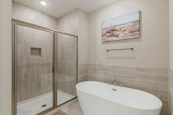 Walk-in shower and garden tub