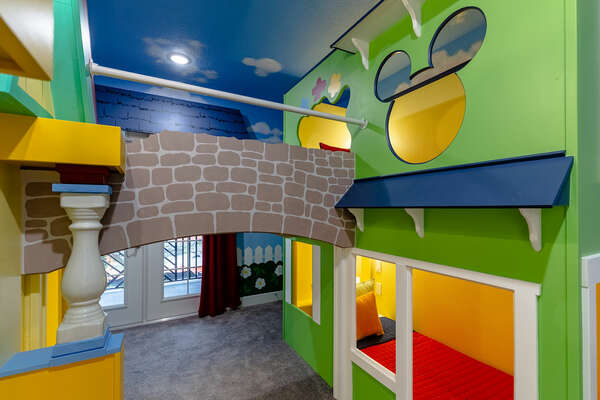 Kids can go from bunk to bunk by going across the bridge