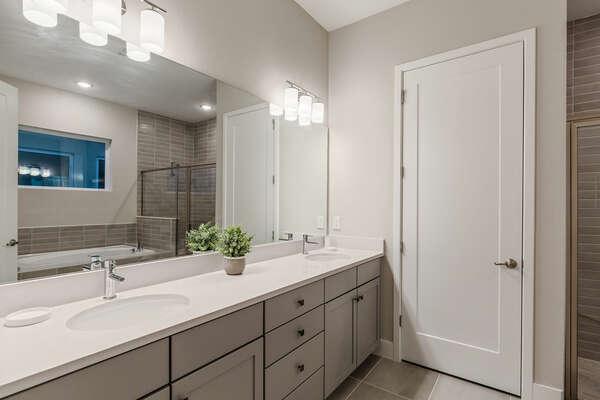 Ensuite bathroom with dual vanity