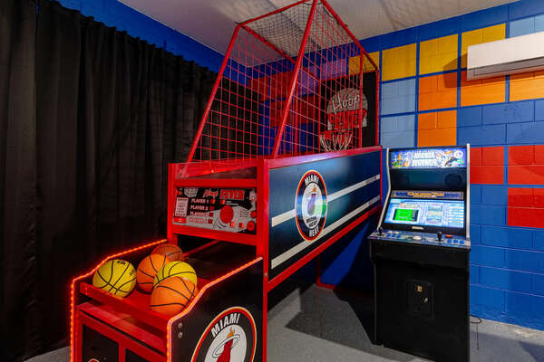 Play a game of hoops or a game on the arcade machine