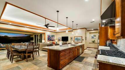 kitchen opens up to a large comfortable living room