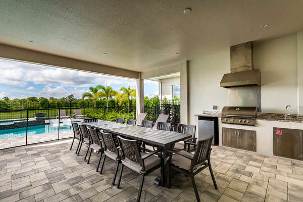 Utilize the summer kitchen and outdoor dining table