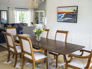 The dining table seats 12