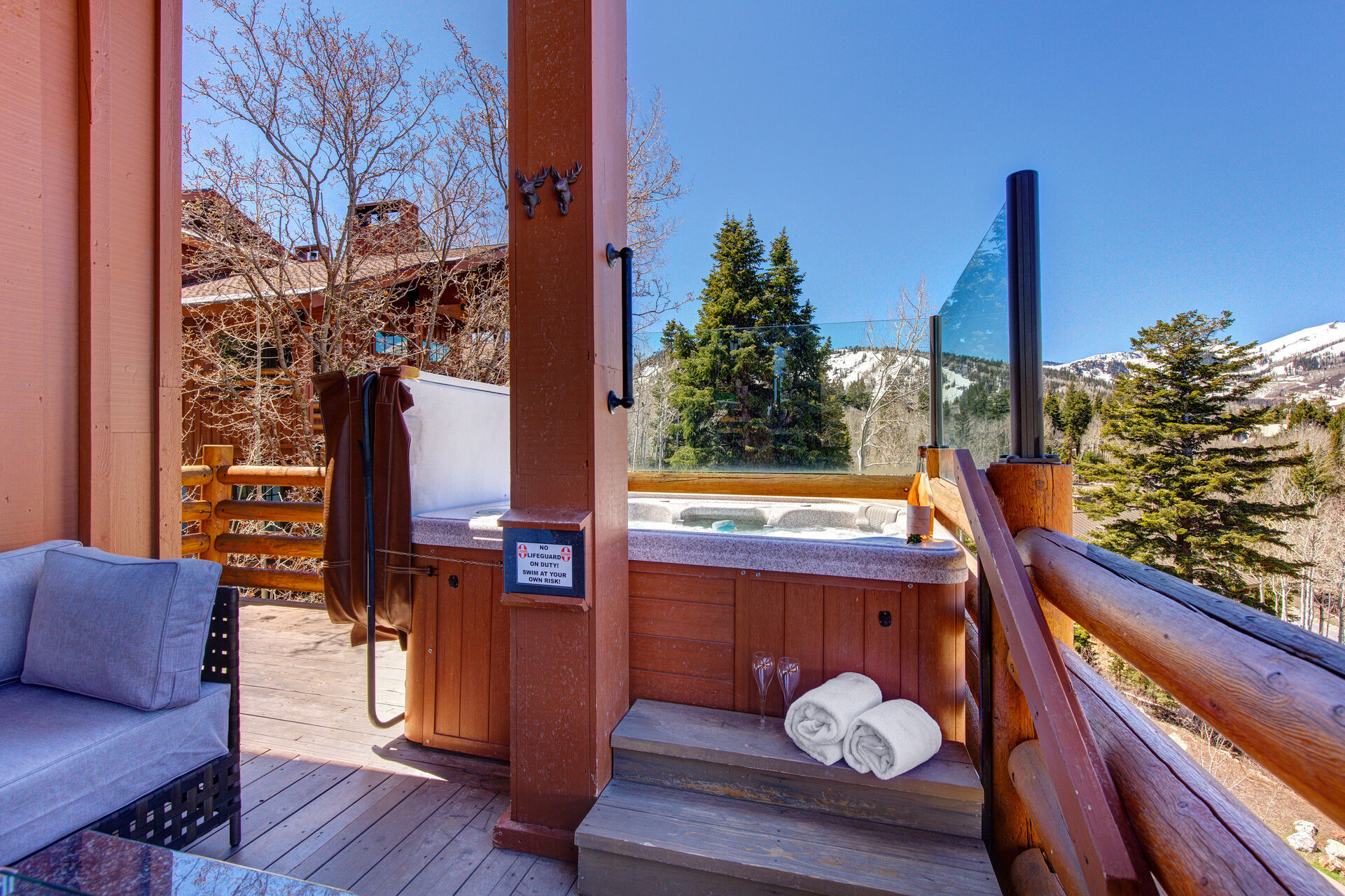 Main Level Deck with a Private Hot Tub and Ski Resort Views