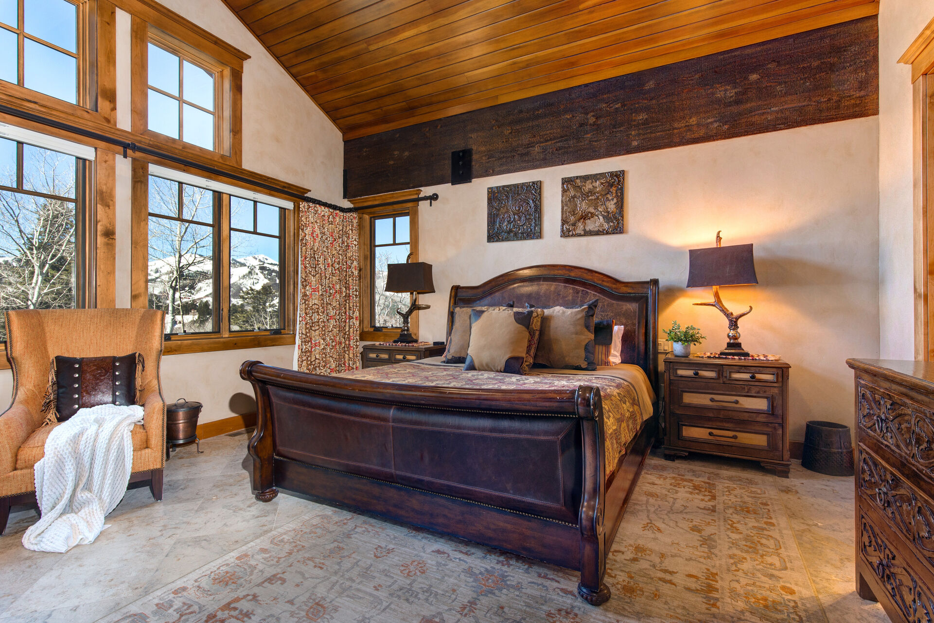 Upper Level Grand Master Bedroom Vaulted Wood Ceilings and Gorgeous Views