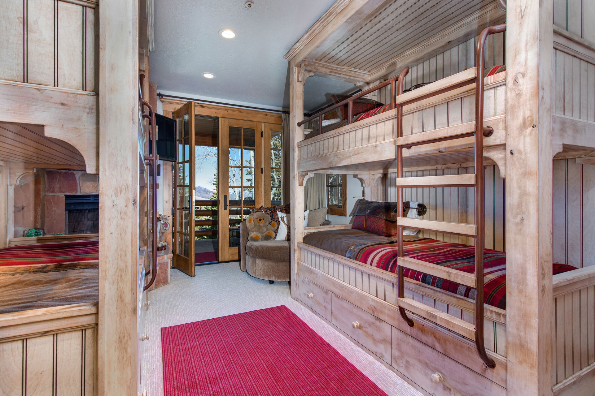 Lower Level Bedroom 5 - Bunk Room - Two Twin Over Twin Bunk Beds and a Twin Trundle