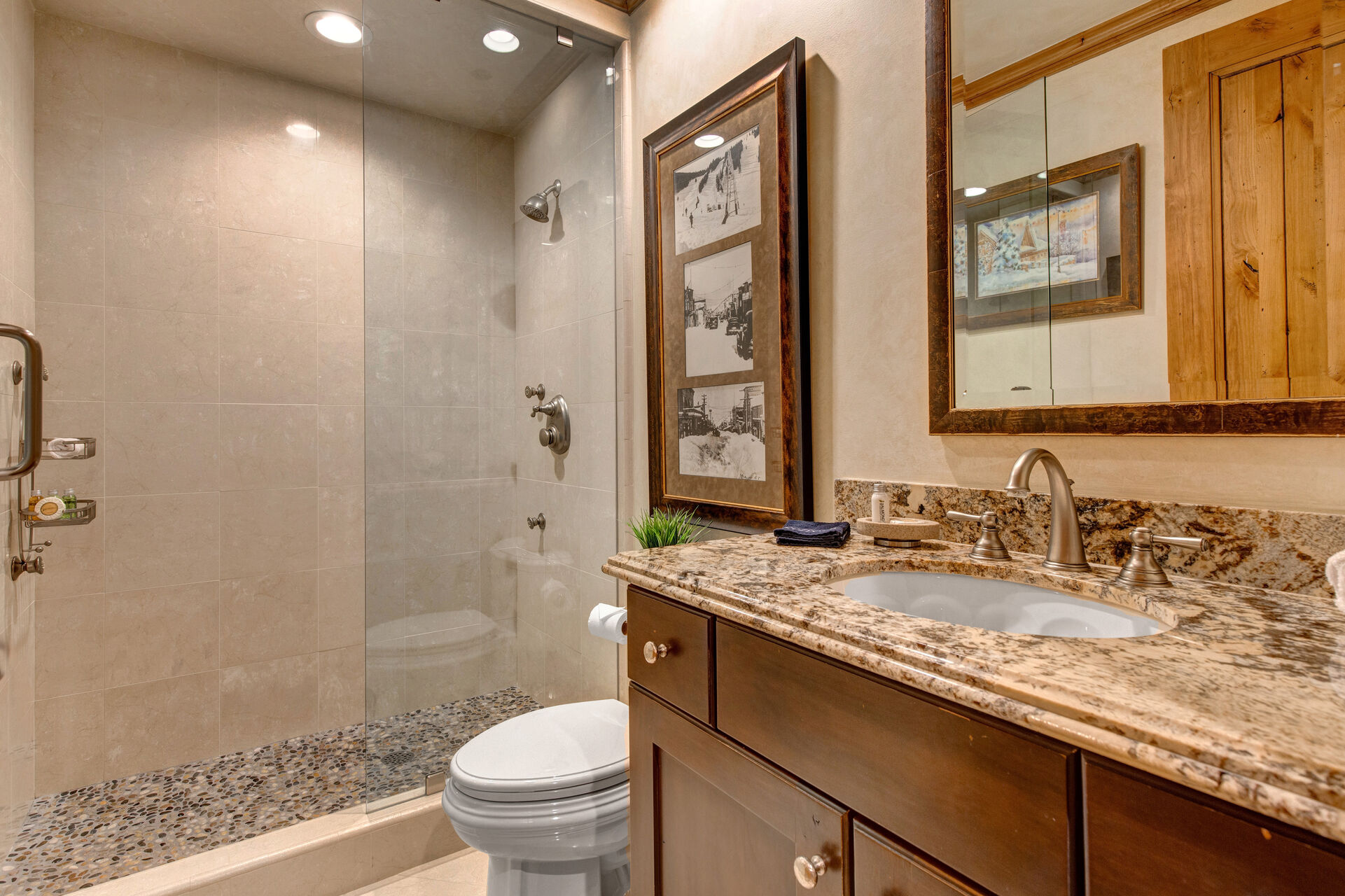 Lower Level Full Shared Bath 7 with a Tile/Glass Shower