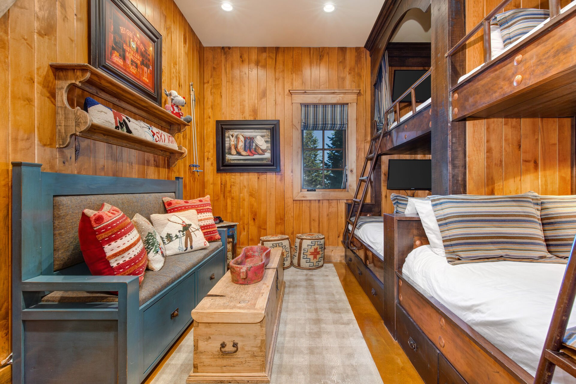 1st Level Bedroom 6 - Bunk Room - Two Custom Built Twin over Queen Bunk Beds, Each with a 40