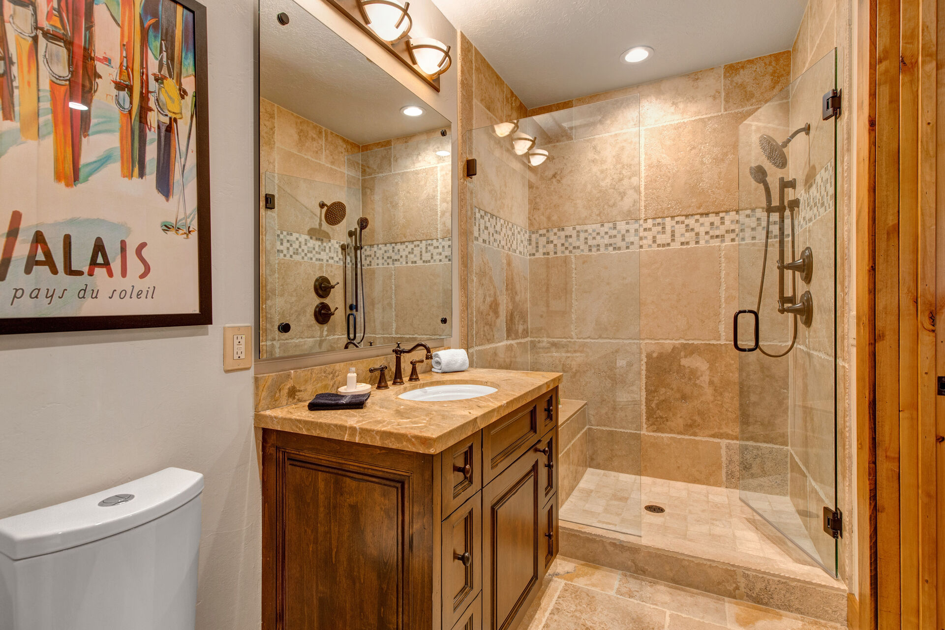 Full Shared Bath 3 with a Tile/Glass Shower with Multiple Shower Heads