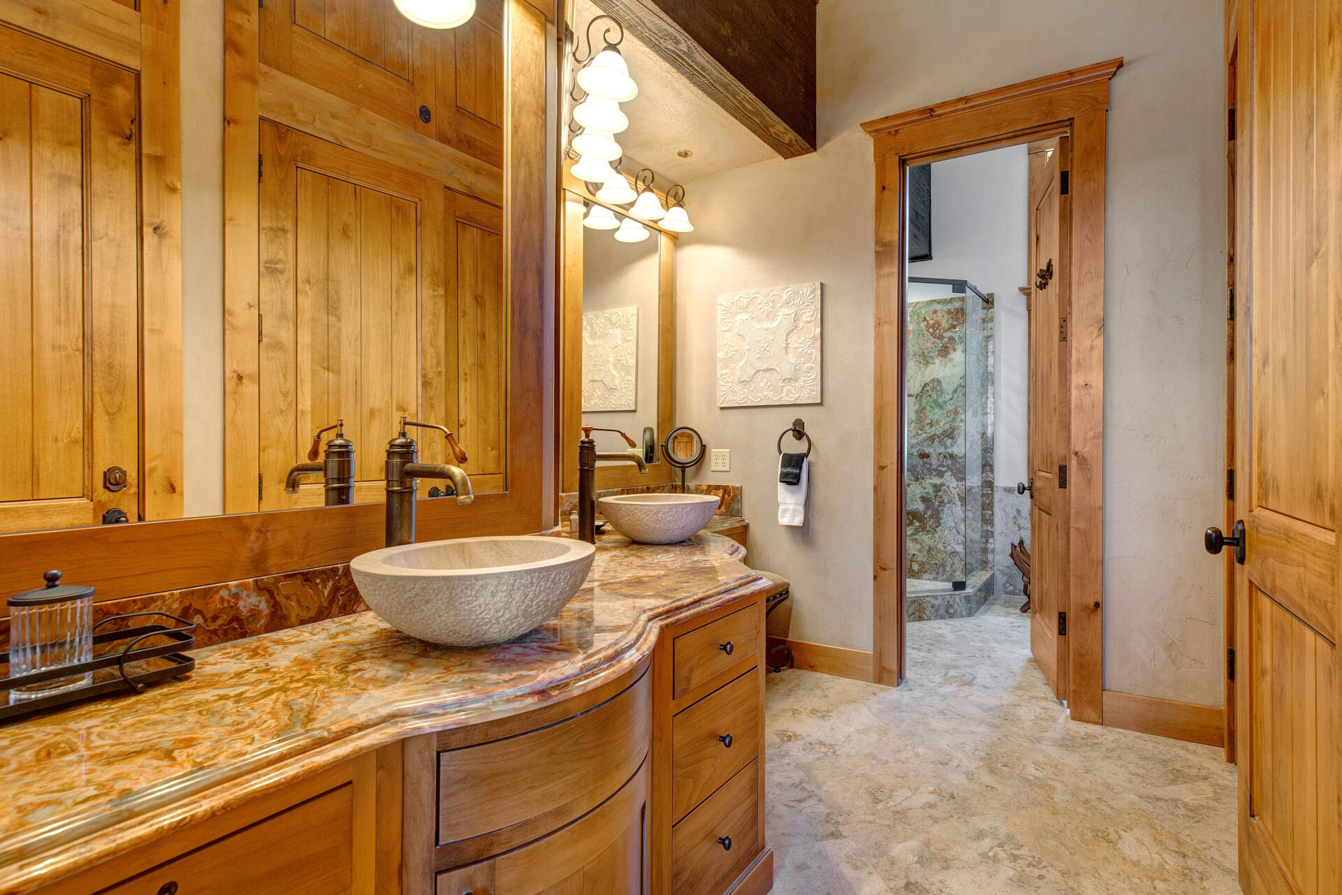 Grand Master Bath with Two Sinks and a Makeup Area