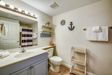 Hallway bathroom adjacent to the bunk beds