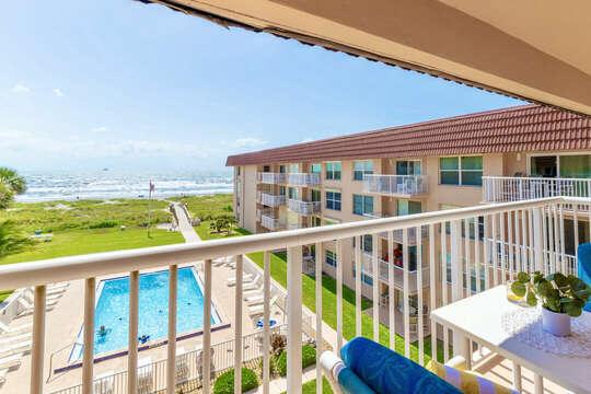 Enjoy a coffee or drink from your beautiful ocean facing balcony.