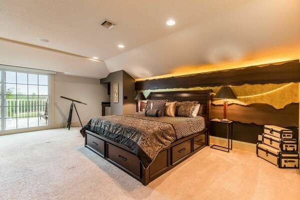 Rest your head in this gorgeous bedroom with a king-size bed