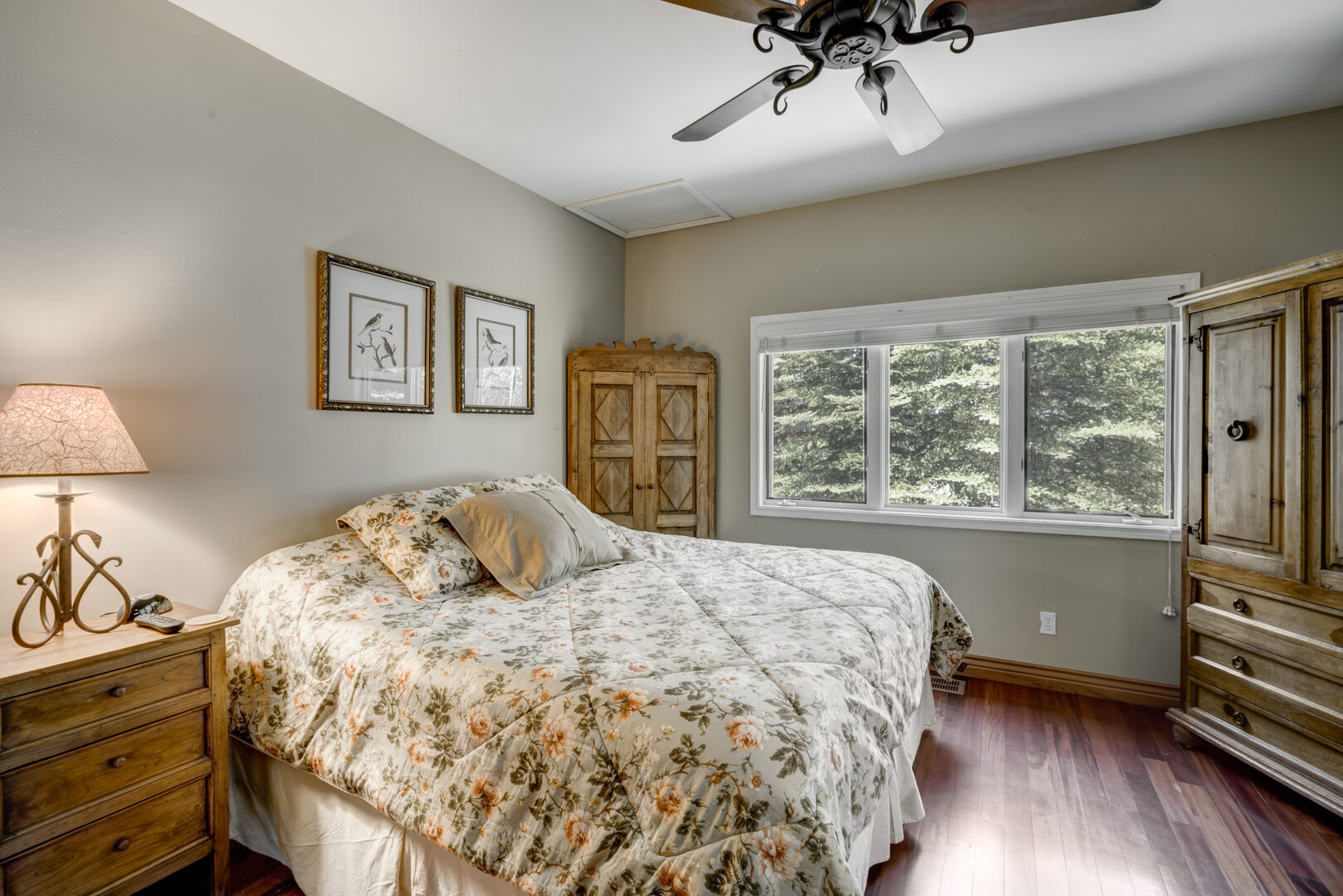 Master bedroom on main level with king bed