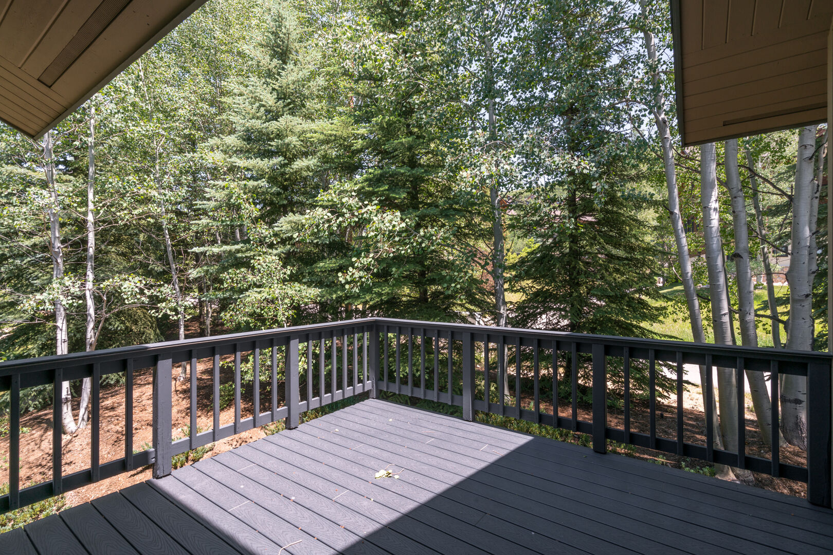 Enjoy morning sun and afternoon shade on the deck off the master.