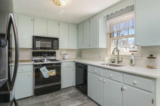 Fun kitchen with light blue cabinetry - 7 Cutter Lane West Yarmouth Cape Cod - New England Vacation Rentals