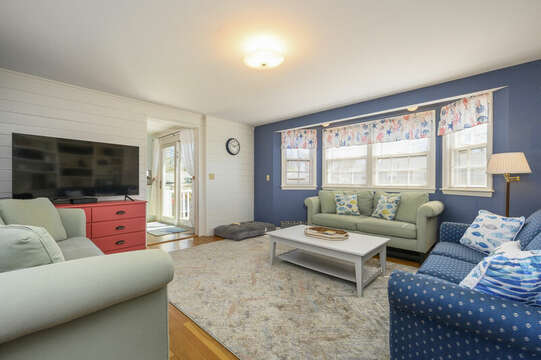 TV room as your enter the home - 3 couches and a bed for Fido - 7 Cutter Lane West Yarmouth Cape Cod - New England Vacation Rentals
