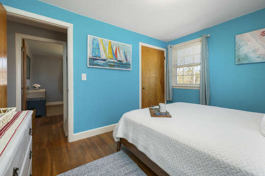Aqua walls remind you of the ocean in this queen bedroom #3 - 7 Cutter Lane West Yarmouth Cape Cod - New England Vacation Rentals