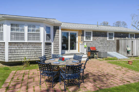 Backyard patio with grill, outdoor furniture and outside shower - 7 Cutter Lane West Yarmouth Cape Cod - New England Vacation Rentals