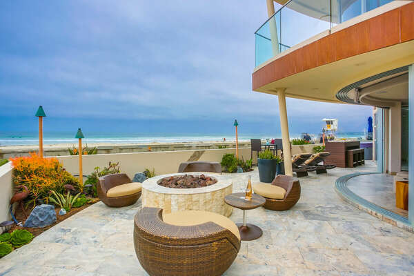 Ground Floor Oceanfront Patio - Fire Pit & Seating