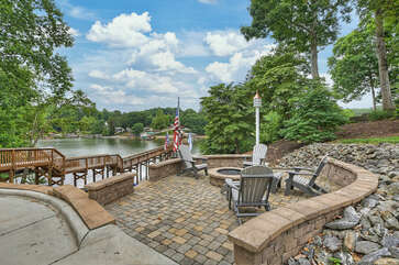 Stone fire pit, overlooking the lake!