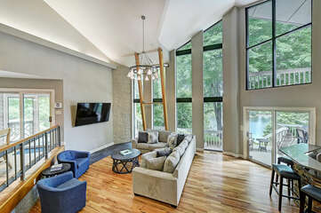 Living room - large sectional, swivels for lake views!
