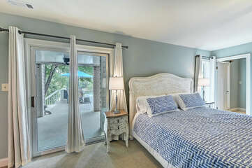 Main level master - king bed. Attached sleeping area and full bathroom.