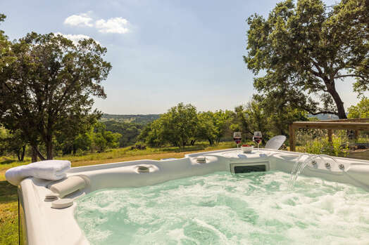 New Hot Tub with Views of the Rolling Hills