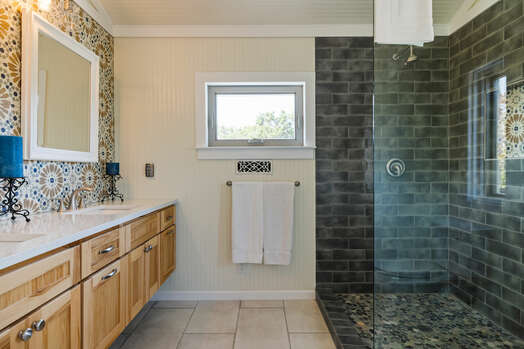 Upper Level Master Bath with a Tile/Glass Shower