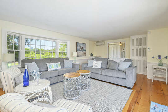Living room - coastal look with mid-century modern flair  - 229 Scatteree Road Chatham Cape Cod - New England Vacation Rentals Vacation Rental