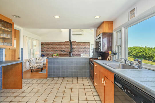 Kitchen view to family room - 229 Scatteree Road Chatham Cape Cod - New England Vacation Rentals Vacation Rental