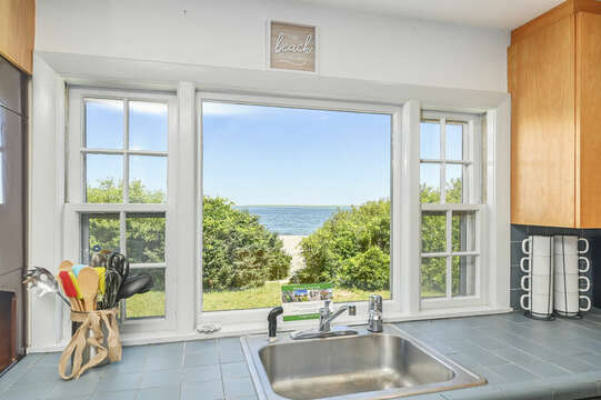 Kitchen window view of ocean - 229 Scatteree Road Chatham Cape Cod - New England Vacation Rentals Vacation Rental