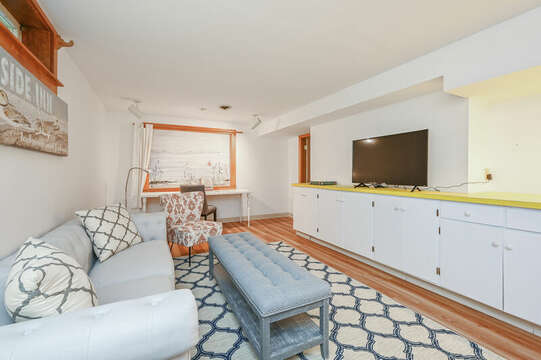 Lower Level Family Room with TV - 229 Scatteree Road Chatham Cape Cod - New England Vacation Rentals Vacation Rental