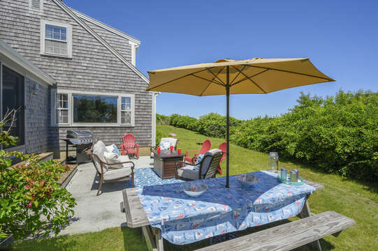 Enjoy outdoor dining and relaxation with firepit - 229 Scatteree Road Chatham Cape Cod - New England Vacation Rentals Vacation Rental