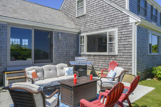 Outside sitting with fire-pit - 229 Scatteree Road Chatham Cape Cod - New England Vacation Rentals Vacation Rental